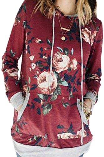 La Mujer Casual De Manga Larga Estampado Floral Hoodie Pullover Sweatshirt Outwear Deportes Con Cordon Red