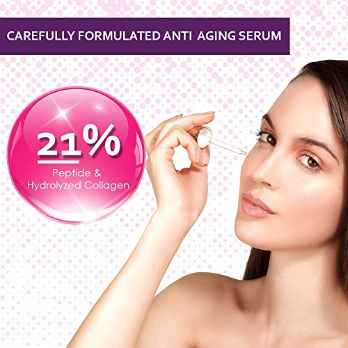 51S0uT1B0iL - Collagen Face Serum with Peptides & Hyaluronic Acid. Skin Care, Plumps, Firms, Corrects. Anti aging Face Serum