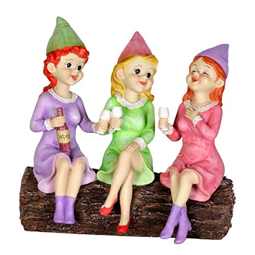 Exhart Solar Good Time Gnome Women Garden Statue - Female Gnome Friends w/Wine Glasses - Wine Lovers, Girls Garden Gnome Female, Girl's Night Out Decor, 10.2