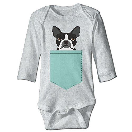Infant Boston Terrier And French Bulldog Unisex Baby Onesie Bodysuit Long-sleeve Ash 6 M