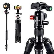 "#LightningDeal MACTREM 2019 Camera Tripod - 62"" Lightweight Travel Tripod w/ [Stable Plus] Tech, 360 Ball Head & Phone Holder, Heavy Duty Aluminum DSLR Camera Tripod for Canon Nikon Studio Camcorder, Classic Black"