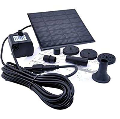 Solar Fountain Pump Battery Auto Pound Powered Submersible Kit GPH Pool Garden