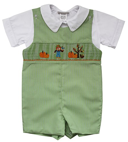 (Carouselwear Boys Thanksgiving Shortall with Smocked Scarecrow and Pumpkins)