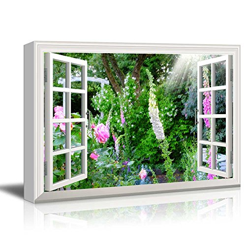 Creative Window View Wild Flowers in Spring