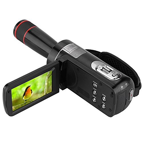 ORDRO HDV-Z8 1080P Full HD Digital Video Camera Camcorder with 12× Telephoto Lens 16× Digital Zoom Digital Rotation LCD Touch Screen Max. 24 Mega Pixels Support Face Detection by ORDRO