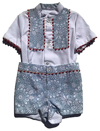 Colibri Azul Boys Beautiful Blue, White and Red Floral Print Matching Shirt and Shorts Set by Colibri Azul (Image #2)