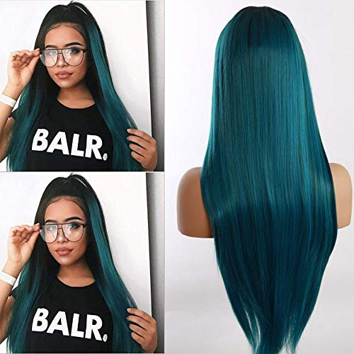 Synthetic Lace Front Wigs for Women Straight Ombre Blue with Dark Roots Heat Resistant Fiber with Natural Hairline 24 inch Lace Wigs ()