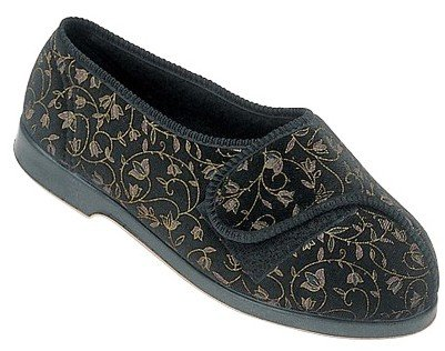 Womens GBS Nola Extra Wide Fit Orthopaedic Slippers Rubber Velcro Black UK 3-8 Black