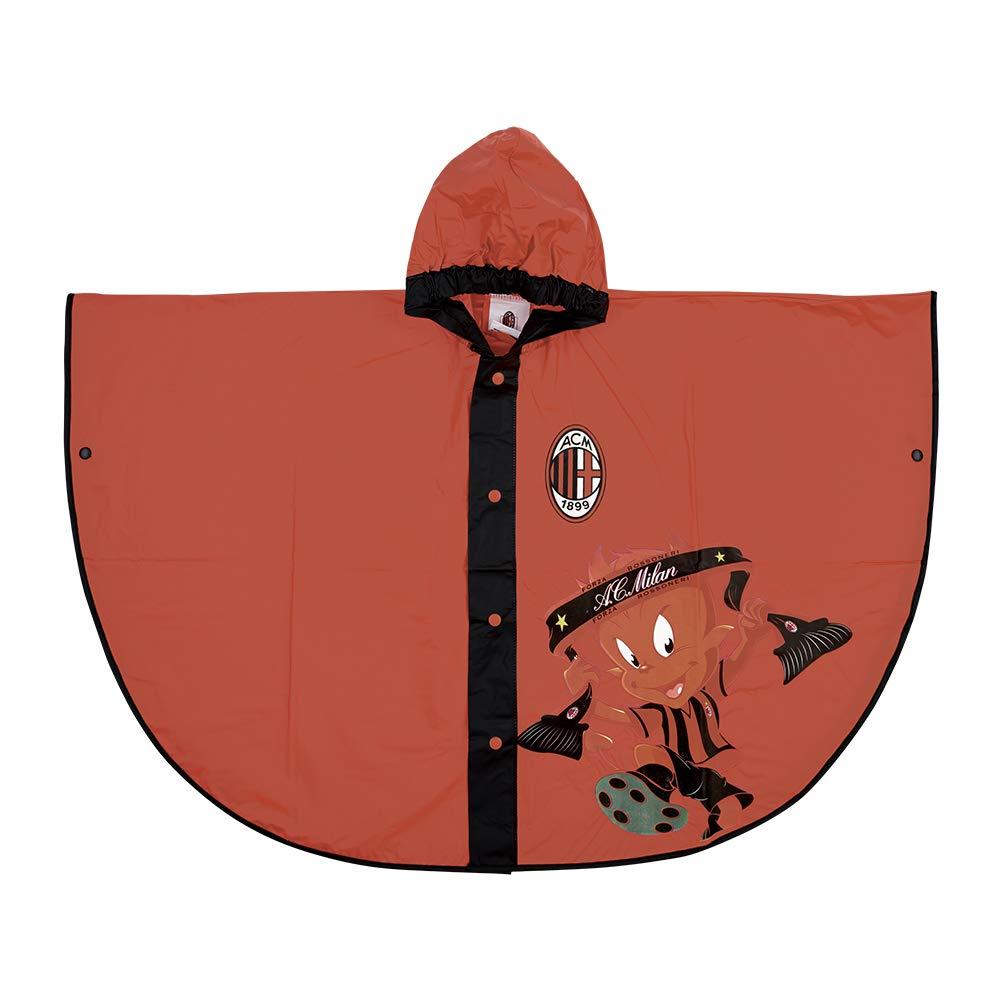 PERLETTI Mantellina Pioggia Ufficiale Milan - Poncho Impermeabile Bambino AC Milan - Antipioggia con Cappuccio e Bottoni - Rosso e Nero