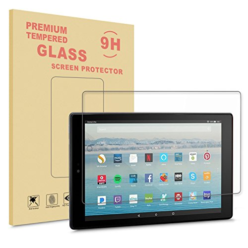 Infiland All-New Fire HD 10 2017 Screen protector,Premium HD clear Tempered Glass Screen Protector for All-New Fire HD 10 Tablet 10.1 (7th Generation, 2017 Release)