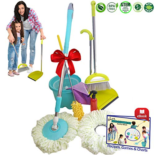 Kids Cleaning Set - Skoolzy Play House Toddler Toys | Montessori Materials Real Tools for Little Girl or Boy Toy | Spin Mop, Broom and Dustpan, Spray Bottle, Cloth, Duster & Non Toxic Recipes eBook