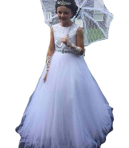 MerryGirl Vestidos de Primera comunión de Encaje en la Cintura con Cuentas O-Neck Vestido de Fiesta de una línea para niñas: Amazon.es: Ropa y accesorios