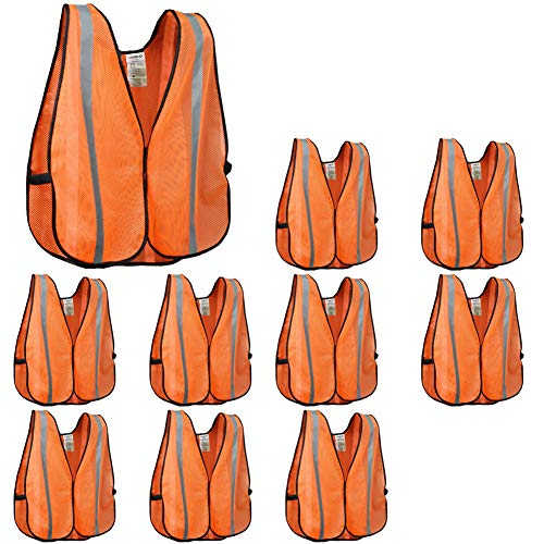 XSHIELD XS0008-10,High Visibility Safety Vest with Silver Stripe,ANSI Class Unrated,Universal Size,Pack of 10 (Orange)]()