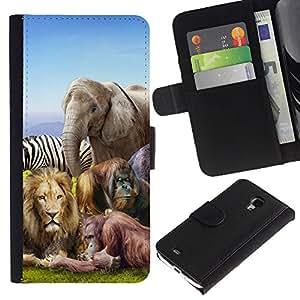 Planetar® Modelo colorido cuero carpeta tirón caso cubierta piel Holster Funda protección Para Samsung Galaxy S4 Mini i9190 (NOT S4) (NOT S4) ( Animales africanos Zoo elefante león cebra )
