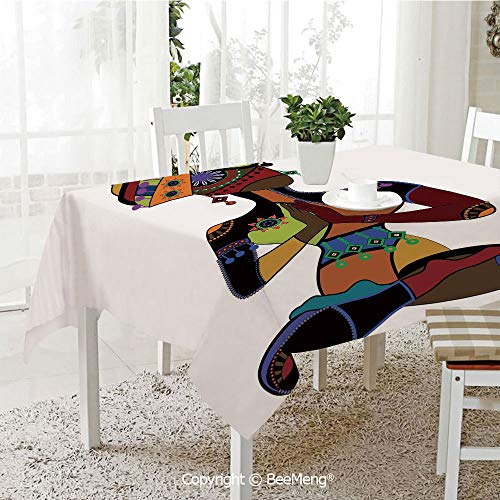 BeeMeng Large dustproof Waterproof Tablecloth,Family Table Decoration,Yoga,Woman Figure in Ethnic Style Costume Praying Culture Religion Enlightenment Grace Decorative,Multicolor,70 x 104 -