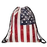Ababalaya 3D Print Drawstring Backpack Rucksack Shoulder Bags Gym Bag, America Flag