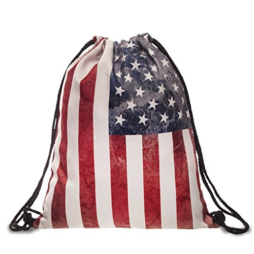 Ababalaya 3D Print Drawstring Backpack Rucksack Shoulder Bags Gym Bag, America Flag