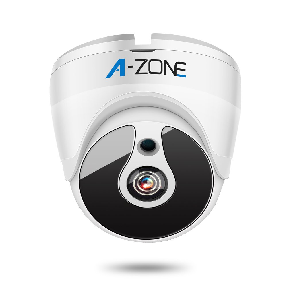 A-ZONE 1080P HD-TVI Dome Security Camera IR Night Vision 2MP 1920x1080 3.6mm Fixed Lens IP67 CCTV Security Camera White by A-ZONE