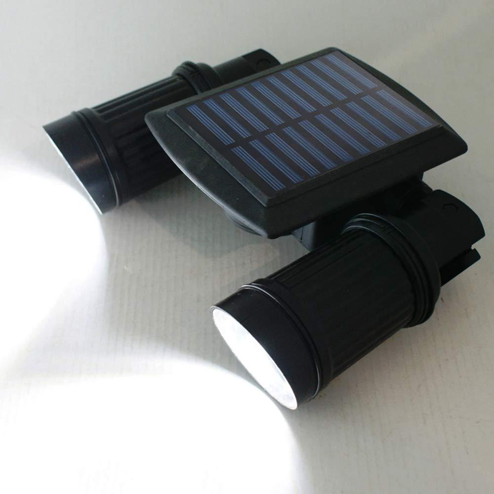 Amysports Outdoor Adjustable Solar Lights, PIR Motion Sensor, Dim Mode IP65 Waterproof Solar Light, Dual Heads with 14 LED High Lumens Solar Spotlight, Outdoor Wall Light for Patio, Porch, Deck, Yard