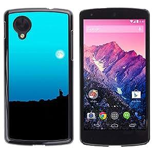 Los cielos Lunas Pale - Metal de aluminio y de plástico duro Caja del teléfono - Negro - LG Nexus 5 D820 D821