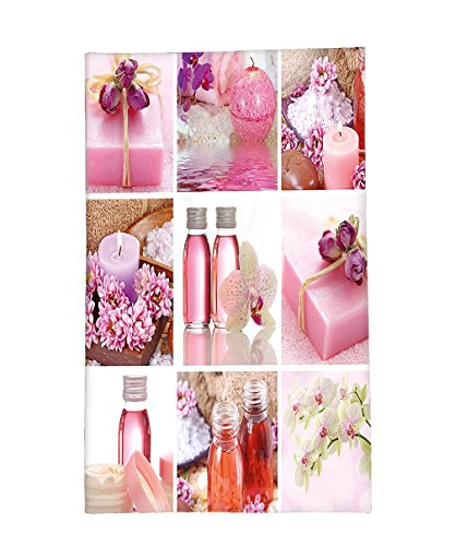 Interestlee Fleece Throw Blanket Spa Decor Flowers Pink Gift Wraps Tiny Scent Bottles and Candles Image Collage Lillium Pink and White