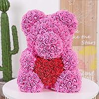 Auntwhale The Rose Cute Bear Artificial Forever Rose, Rose Romantic Foam Rose Bear Valentine