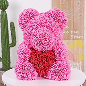 Auntwhale The Rose Teddy Bear Artificial Forever Rose, Suitable for Lover Girlfriend Lovely Cartoon Gift 33