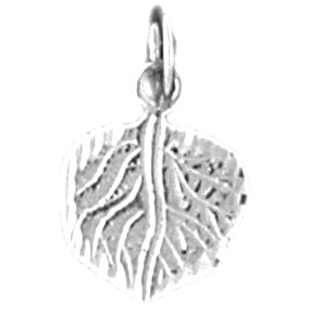 Jewels Obsession Leaf Necklace Rhodium-plated 925 Silver Aspen Leaf Pendant with 16 Necklace