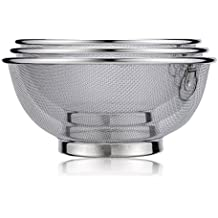 Inmount Colander 3 Piece Micro-perforated Stainless Steel Strainer Washer Set of 3 Mesh Food Basket Bowl for kitchen Washing Rinsing Draining Pasta fruit vegetables (Silver)