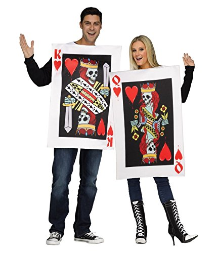 [Dark King & Queen of Hearts Couples Costume] (Funny Halloween Couple Costumes)
