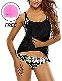 Woman's Padded Blouson Tankini Halter Swimsuit 2 Pieces Swimwear by Lifeisbest(M(8-10)-11#)