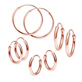 Set of Four Sterling Silver Small Endless 1.2mm x 10mm, 12mm, 14mm & 24mm Lightweight Thin Round Unisex Hoop Earrings Rose Gold Flashed