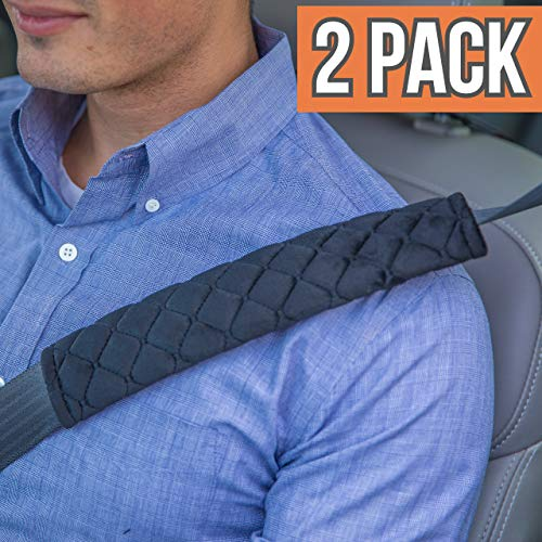 Seat Covers Car Belt (ANDALUS Seat Belt Covers for Adults, Car Seatbelt Cover, 2 Pack, Universal, Soft, Comfortable (Black))