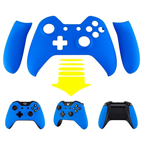 (eXtremeRate Blue Soft Touch Front Shell Face Plate with Left Right Panel Handle Side Rails for Xbox One Standard and W/3.5mm Headset Jack Controller)