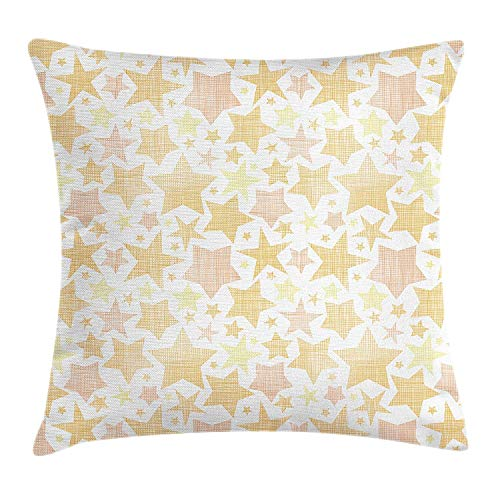 Queolszi Stars Throw Pillow Cushion Cover, Abstract Pattern of Stars with Lines Vintage Heavenly Bodies Silhouettes, Decorative Square Accent Pillow Case, 18 X 18 inches, Pale Yellow Marigold