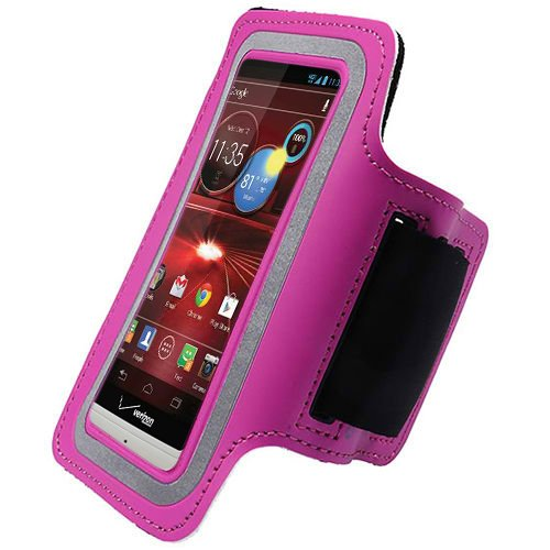 Hot Pink ArmBand Workout Case Cover For Motorola Droid Razr M XT907 Razor with Free Pouch