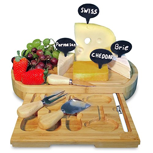 All-In-One 9 Pieces Bamboo Wood Cheese Board Set With A Slide Out Tray. This Top Quality Bamboo Cutting Board Comes With A Set Of 3 Cheese Slicer Knives, 4 Natural Slate Labels and More