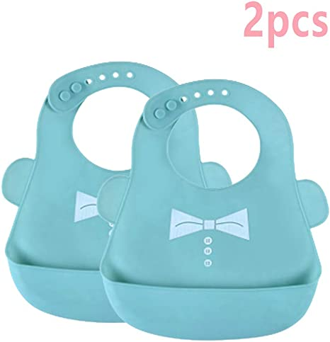 DXIA 2 pack Baberos de Silicona para Bebés, cuello ajustable, impermeable, bolsillo grande, suave, cómodo de limpiar, plegable, coloridos, para bebés y niños de 6 meses a 4 años (Azul/Azul): Amazon.es: Bebé