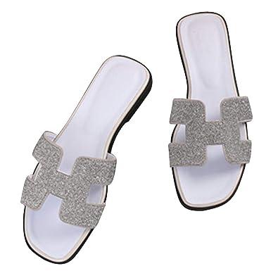 acquisto autentico autentico nuovo concetto Sandali Ciabatte Elegante da Donna Strass Rivetto Sandali Scarpe da  Spiaggia Estivi Pantofola Nero Grigio Oro Argento