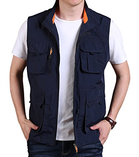 (Gihuo Men's Casual Outdoor Stand Collar Lightweight Quick Dry Travel Vest Outerwear (Navy#3, Small))