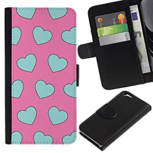 All Phone Most Case / Oferta Especial Cáscara Funda de cuero Monedero Cubierta de proteccion Caso / Wallet Case for Apple Iphone 6 // azul del trullo del amor del corazón patrón de color rosa