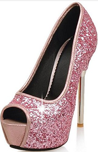 Laruise Women's Leather Platform Sandal Pink CRxlrF