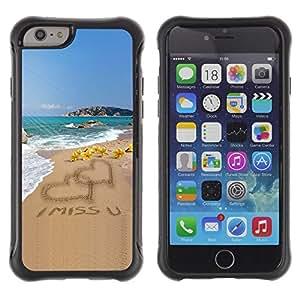 Suave TPU Caso Carcasa de Caucho Funda para Apple Iphone 6 PLUS 5.5 / I Miss U Sand Love Heart Beach Ocean Summer / STRONG