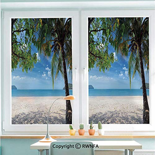 Window Door Sticker Glass Film,Tropical Beach Ocean behind Palm Tree Caribbean Exotic Holiday Image Anti UV Heat Control Privacy Kitchen Curtains for Glass,22.8 x 35.4 inch,Sky Blue Fern Green - Trees Behind Palm