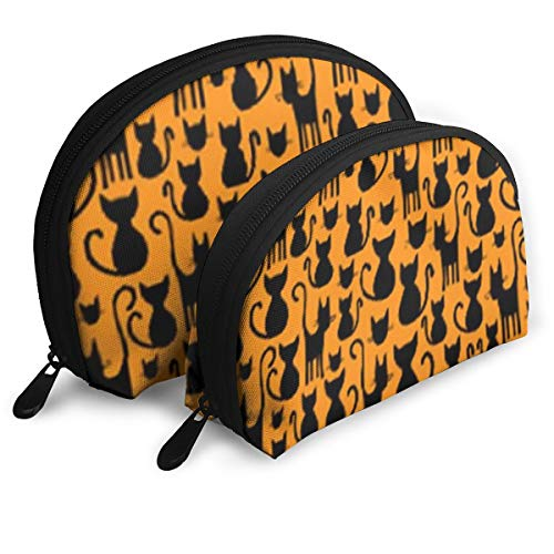 Cosmetic Bag Halloween Cats On Orange Travel Makeup Pencil Pen Case Multifunction Storage Portable - 2 Piece Set -
