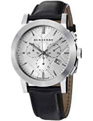 Burberry Womens BU9355 Large Check Black Leather Strap Chronograph Watch