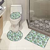 Sea Shells Increase Mosaic Style Marine Animal Pattern Ornamental Design Elements Abstract Shells 3 Piece Extended bath mat set Multicolor