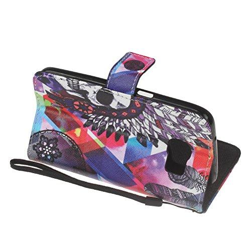 Para Samsung Galaxy S7 edge funda, (muchacha del globo) caja del teléfono de la PU patrón en relieve ,Función de Soporte Billetera con Tapa para Tarjetas correa de mano soporte para teléfono cráneo