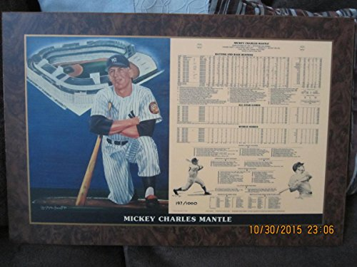 Mickey Mantle New York Yankees 1981 Cambridge Plaque Sign 2 ft x 1 ft