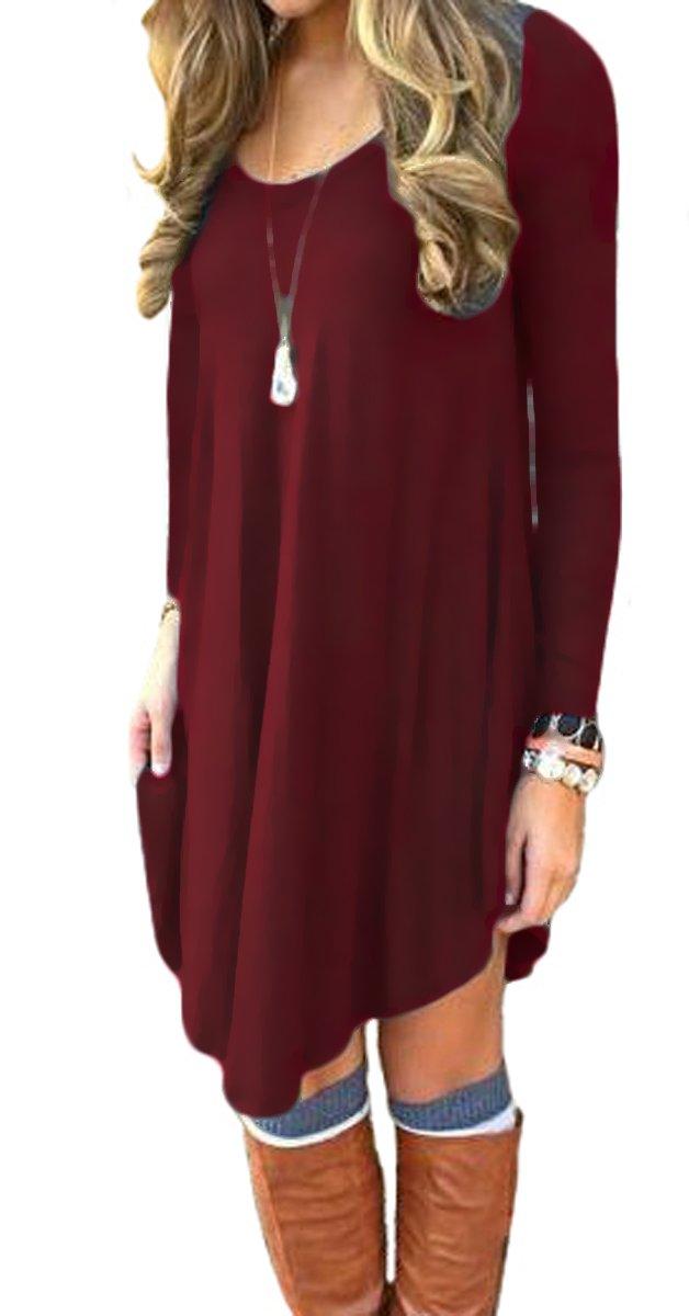 Women's Irregular Hem Long Sleeve Casual T Shirt Flowy Short Dress Wine Red XL